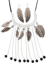 Things2Die4 Black and White Spotted Feather Fashion Necklace/Earring Set