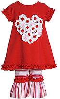 Bonnie Jean 2T-6X Heart-Appliqued Dress & Striped Pant Set