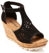 Minnetonka Ellis Leather T-Strap Wedge Sandal