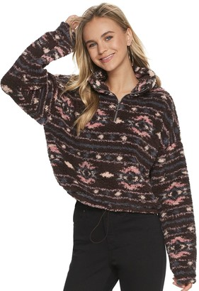 So Juniors' Cropped Quarter-Zip Sherpa Pullover