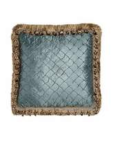 "Isabella Collection by Kathy Fielder Grace Teal Diamond Pillow with Fringe & Onion Trim, 17""Sq."