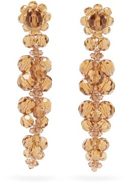 Simone Rocha Cluster Drip Crystal-embellished Earrings - Orange
