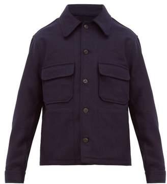 Ami Brushed Wool Twill Overshirt - Mens - Navy