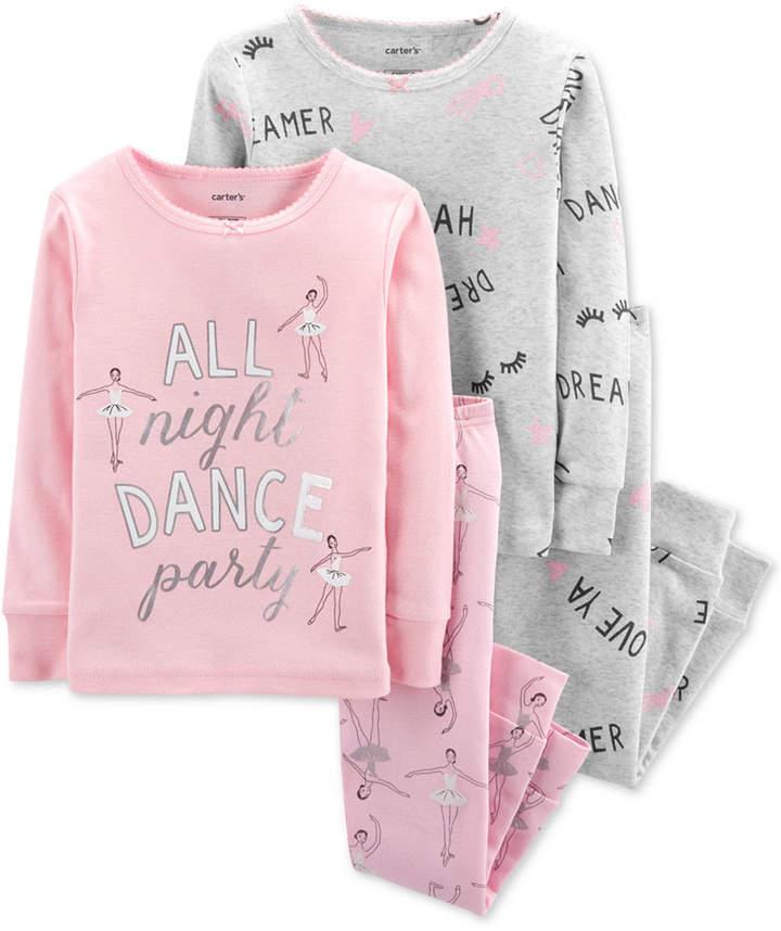 Carter's Carter Baby Girls 4-Pc. Ballerina-Print Cotton Pajamas Set