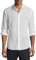 Vince Melrose Linen-Cotton Sport Shirt, White