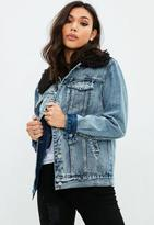 Missguided Blue Denim Borg Jacket, Blue