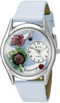 Whimsical Watches Women's S0910001 Imitation Birthstone: January Baby Blue Leather Watch