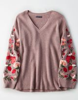 American Eagle Outfitters AE Embroidered Bell-Sleeve Sweater