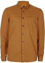 Topman Washed Brown Overlay Pocket Overshirt