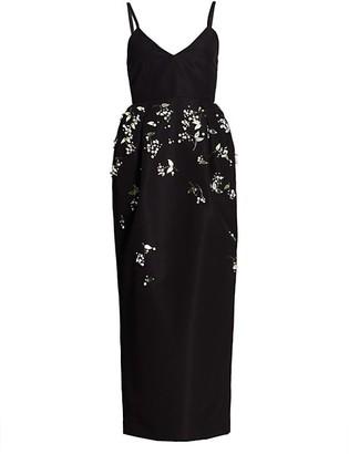 Carolina Herrera Spaghetti Strap Embellished Silk Cocktail Dress