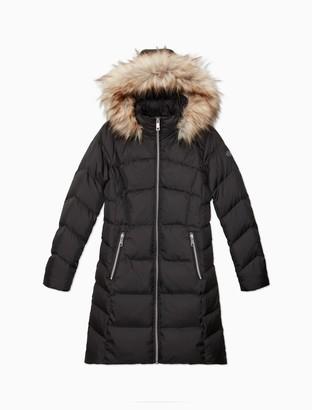 Calvin Klein Faux Fur Hood Down Blend Longline Puffer Coat