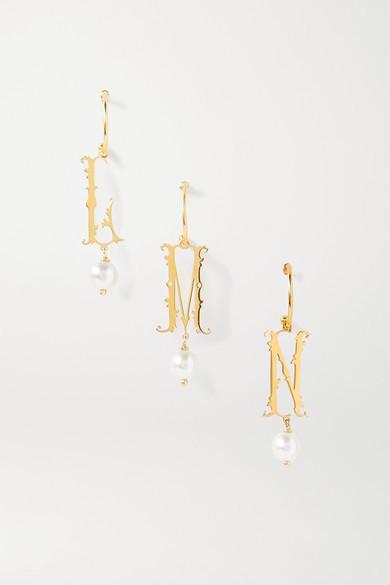Simone Rocha Initial Gold-plated Faux Pearl Hoop Earring - A