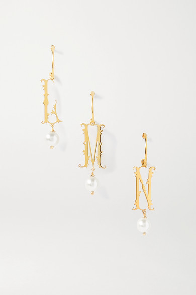 Thumbnail for your product : Simone Rocha Initial Gold-plated Faux Pearl Single Hoop Earring - B