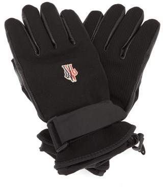 Moncler Twill And Leather Technical Ski Gloves - Womens - Black