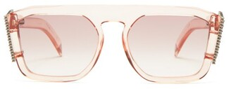 Fendi Ffreedom Crystal-wing Squared Acetate Sunglasses - Womens - Pink