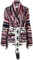 Laneus multi-knit belted cardigan