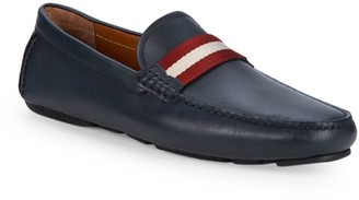 Bally Stripe Leather Loafers