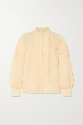 See by Chloe Ruffled Pintucked Georgette Blouse - Beige