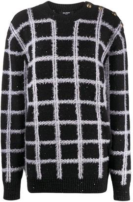 Balmain Grid-Pattern Jumper