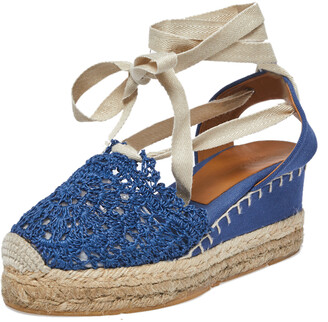 Ralph Lauren Blue Crochet Fabric Uma Espadrille Wedge Ankle Wrap Platform Sandals Size 38