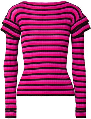 Philosophy di Lorenzo Serafini Tiered Striped Ribbed Cotton Sweater