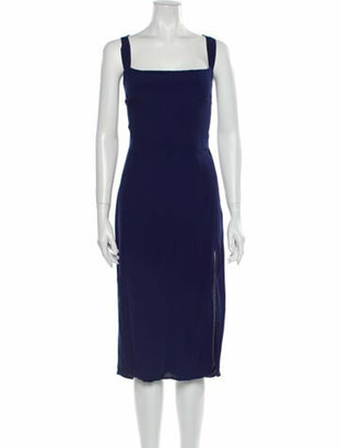 Reformation Square Neckline Midi Length Dress Blue