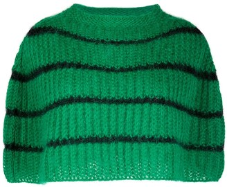 Plan C Stripe Knit Pncho