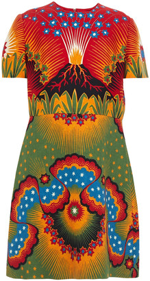 Valentino Printed Wool And Silk-blend Crepe Mini Dress