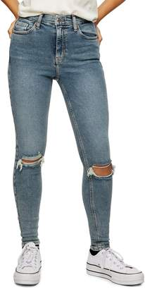 Topshop Greencast Ripped Jamie Jeans 32-Inch Leg