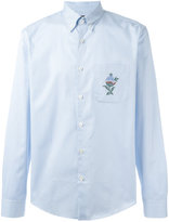 Gucci floral embroidered striped shirt - men - Cotton - 38