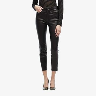 Rag & Bone Nina High-Rise Ankle Skinny Leather Pant (Black) Women's Jeans