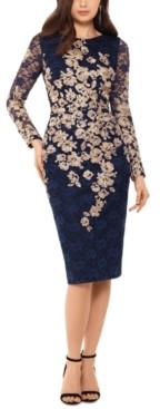 Xscape Evenings Petite Lace High-Neck Dress