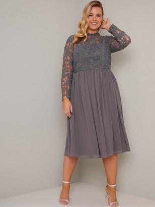 Chi Chi London Curve Zela Floral Lace Dress - Grey