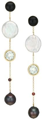 Lizzie Fortunato Bon Vivant Goldplated, Freshwater Pearl & Multi-Stone Linear Drop Earrings