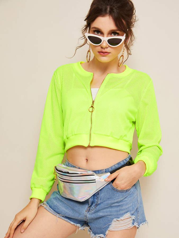 Shein Neon Lime Zip Through Mesh Jacket