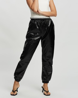Missguided Petite - Women's Black Leather Pants - Petite Faux Leather Jogger Trousers - Size 6 at The Iconic