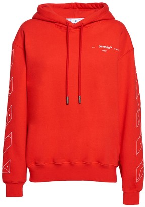 Off-White Red Puzzle Arrow Oversized Hoodie