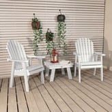 Adirondack Deerpark Plastic Chair with Table Longshore Tides Color: White