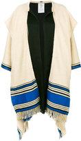 Etro frayed trim cape - women - Silk/Linen/Flax - One Size