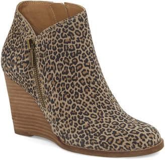 Lucky Brand Women's Casual boots EYELASH - Eyelash Leopard Print Yewani Leather Wedge Boot - Women