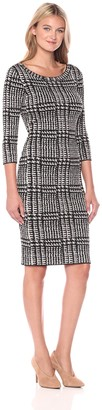 Taylor Dresses Women's Houndstooth Print Sweater Dress