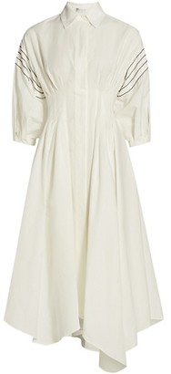Brunello Cucinelli Puff-Sleeve Collared Asymmetric Midi Dress