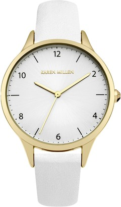Karen Millen Women's Quartz Watch with White Dial Analogue Display and White Leather Strap KM147WG