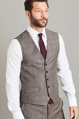 Next Mens Taupe Empire Mills Signature Check Suit: Waistcoat - Brown