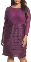 London Times Plus Size Women's Shimmer Tiered Sheath Dress