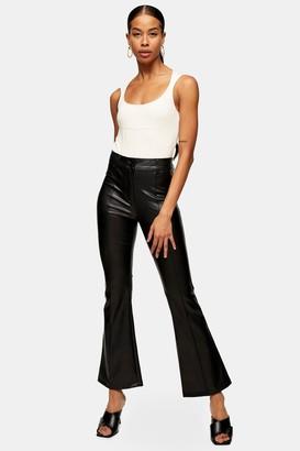 Topshop Womens Tall Black Pu Flare Trousers - Black