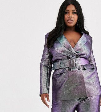 Asos DESIGN Curve oilslick metallic belted suit blazer