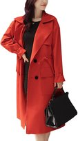 Misslin Women's Solid Regular Fit Simple Fashion Trench Coats