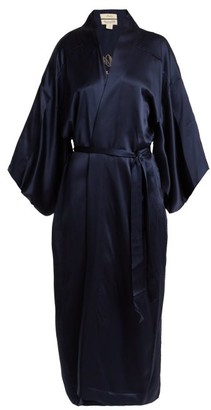 CHUFY Embroidered Silk Kimono-style Jacket - Navy