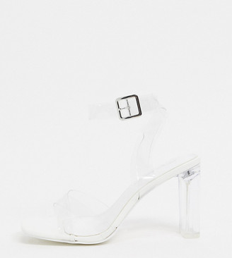 Public Desire Wide Fit Exclusive Talk sandals with clear heel in white